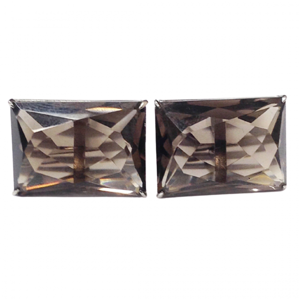 Silver Smokey Topaz Gem Rectangle Shape Cufflinks Mens 1