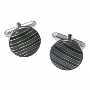Stainless Steel BlueGreen Stripped Enamel Round Shape Cufflinks