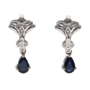 earrings silver blue gem 1