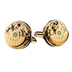 Milus CUF002 Gold Tone Clockwork Movement 360 Degrees Rotatable Cufflinks 123670362813