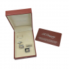 ST Dupont Stainless Steel Square 14mm Amethyst Stone Mens Cufflinks