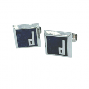 Dunhill JFW8241K Lapis Lazuli Square D Sterling Silver Mens Cufflinks