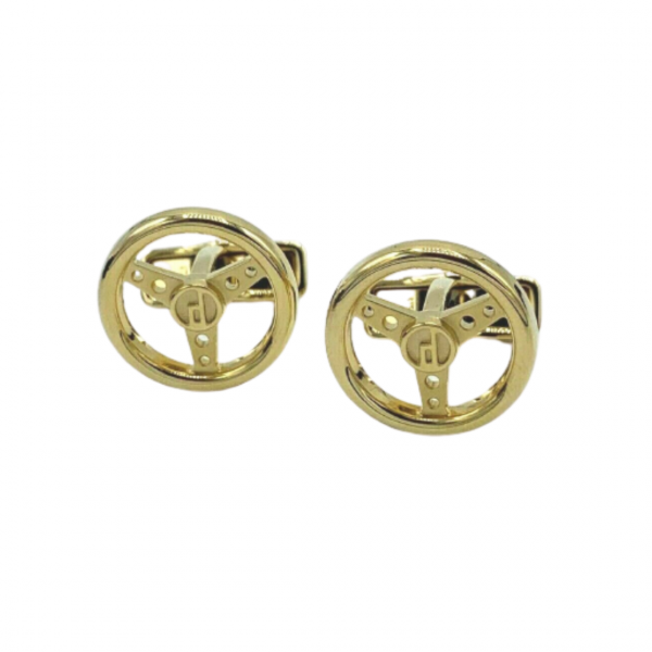 Dunhill JSE5266K Round Gold Plated Sterling Wheel Mens Cufflinks
