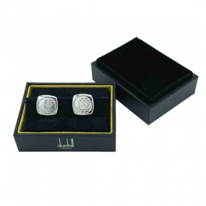 Dunhill JSY8282K Round Square 925 Sterling Silver Mens Cufflinks