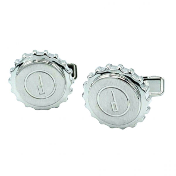 Dunhill Round Gear Engraved Dunhill Logo Stainless Steel Mens Cufflinks 1