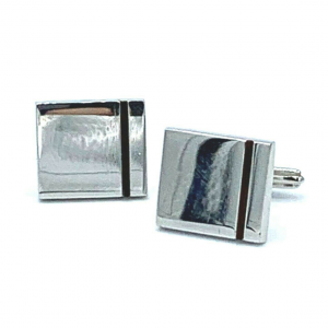 Dunhill Square Brown Stripe 925 Sterling Silver Mens Cufflinks