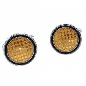 Dunhill Yellow Checkered 925 Sterling Silver Mens Cufflinks