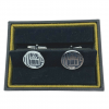 Dunhill OJL8290K 925 Sterling Silver Round Technological Mens Cufflinks