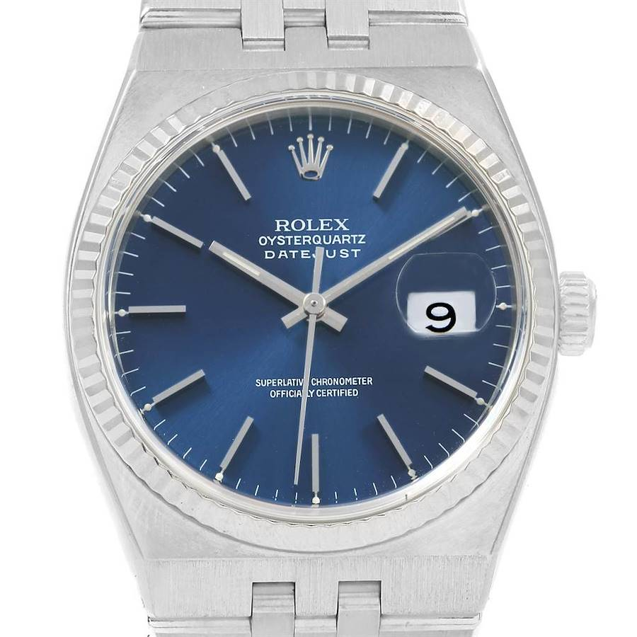 rolex oysterquartz datejust steel white gold watch 17014 box papers 220429 b md