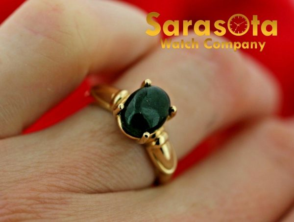 10k Yellow Gold Oval 8 mm Green Gem Stone Size 6 Ladies Ring 113382871840 4
