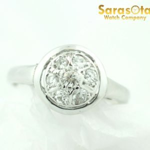 14K White Gold 075Ct GSI2 European Cut Cluster Womens Ring Size 55 111846299480