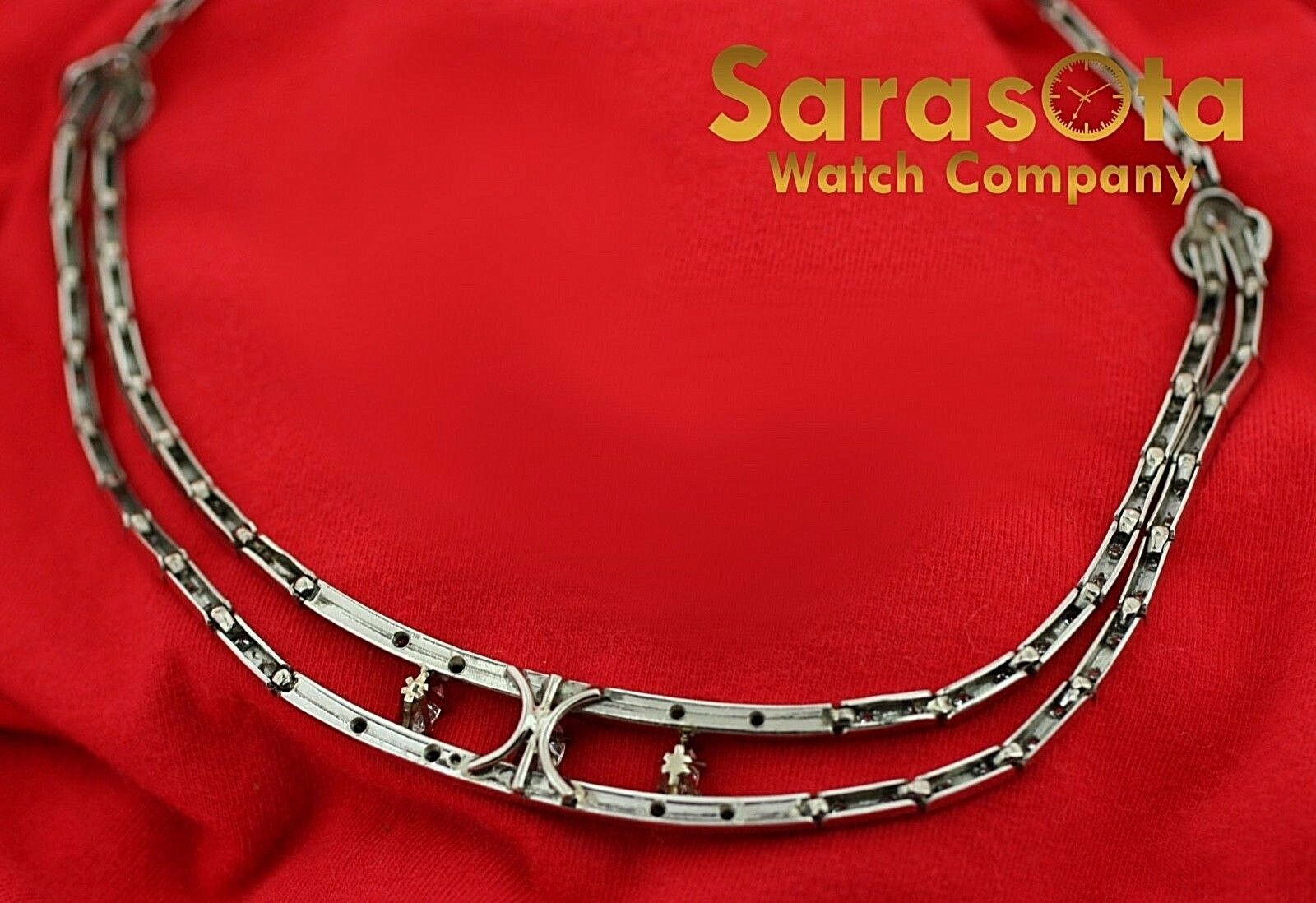 14k White Gold 35ct Marquise Round Diamonds 17 Link Choker Necklace 132907563540 12