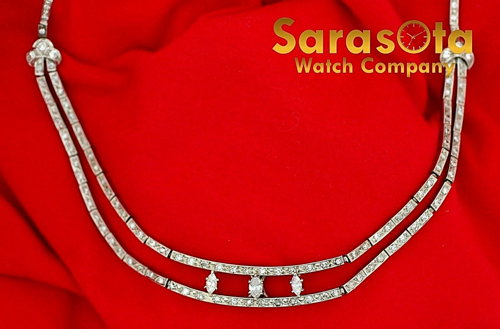 14k White Gold 35ct Marquise Round Diamonds 17 Link Choker Necklace 132907563540 2