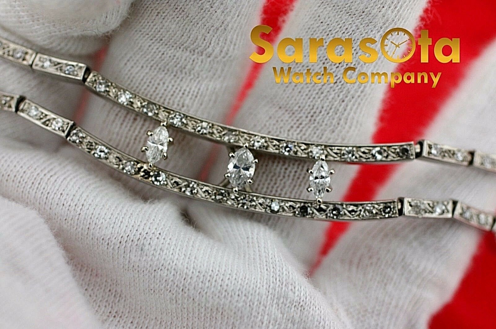 14k White Gold 35ct Marquise Round Diamonds 17 Link Choker Necklace 132907563540 3