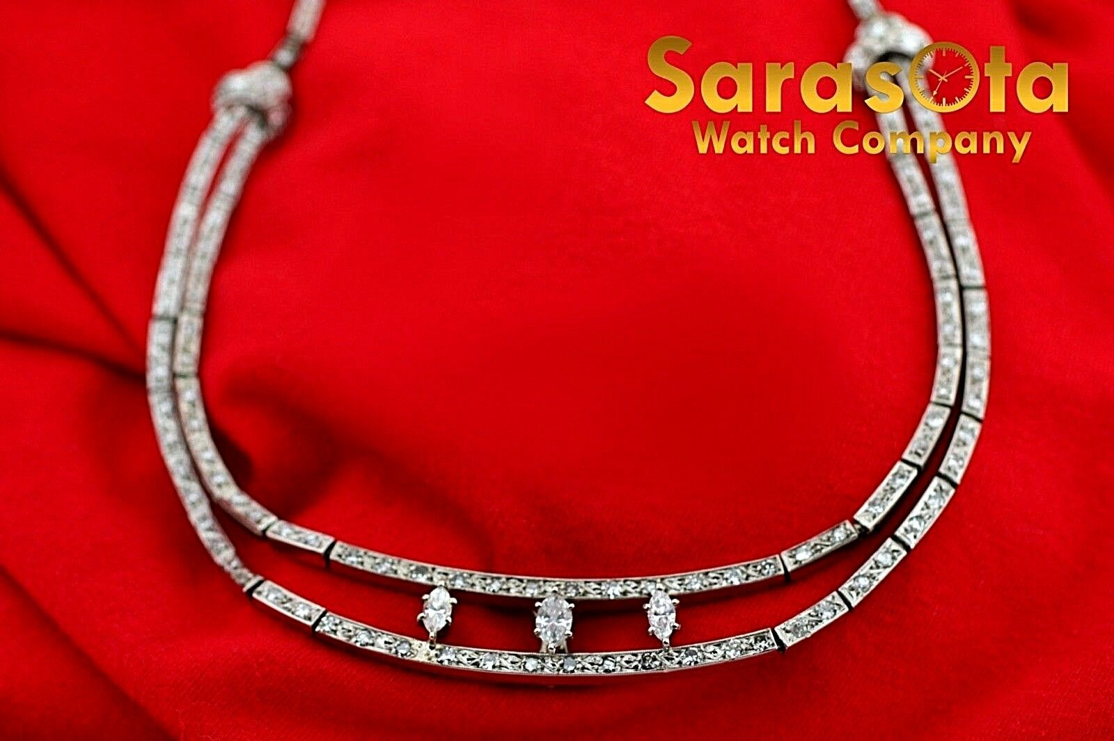 14k White Gold 35ct Marquise Round Diamonds 17 Link Choker Necklace 132907563540 4