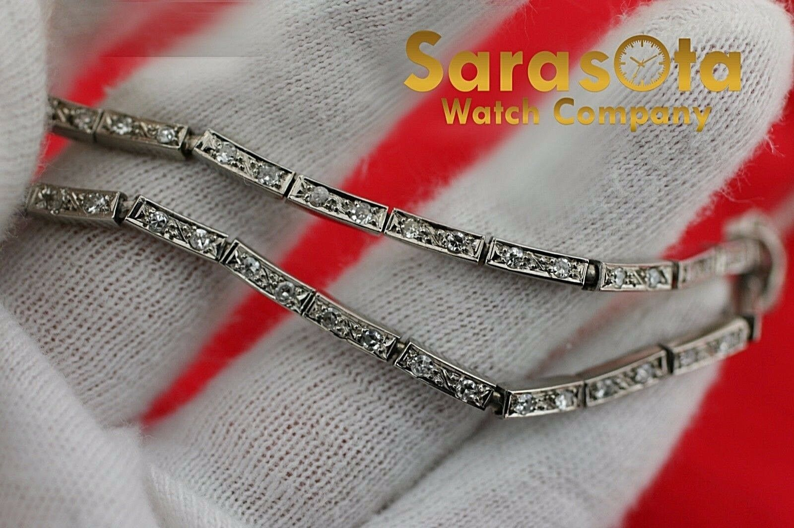 14k White Gold 35ct Marquise Round Diamonds 17 Link Choker Necklace 132907563540 5