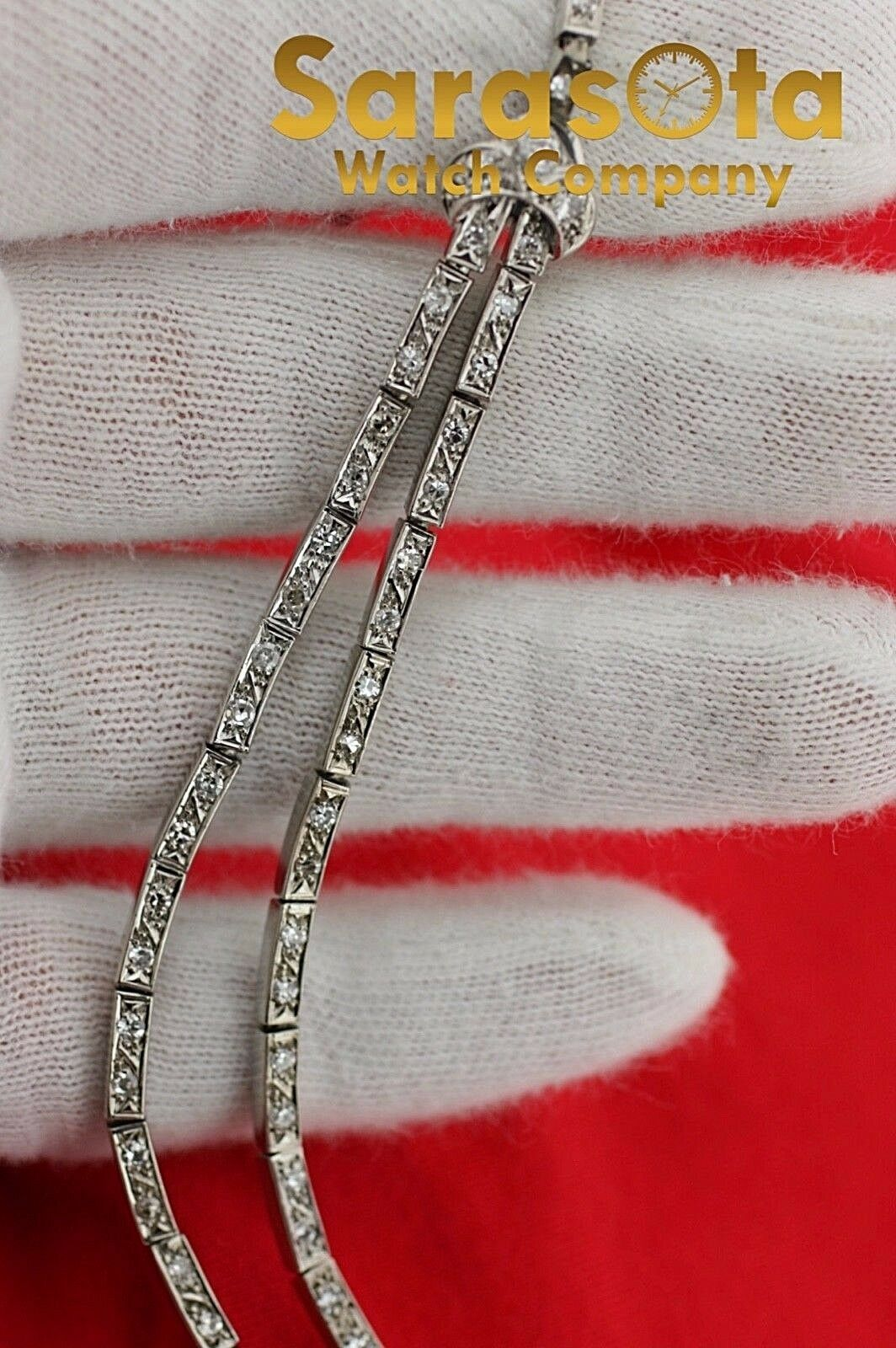 14k White Gold 35ct Marquise Round Diamonds 17 Link Choker Necklace 132907563540 6