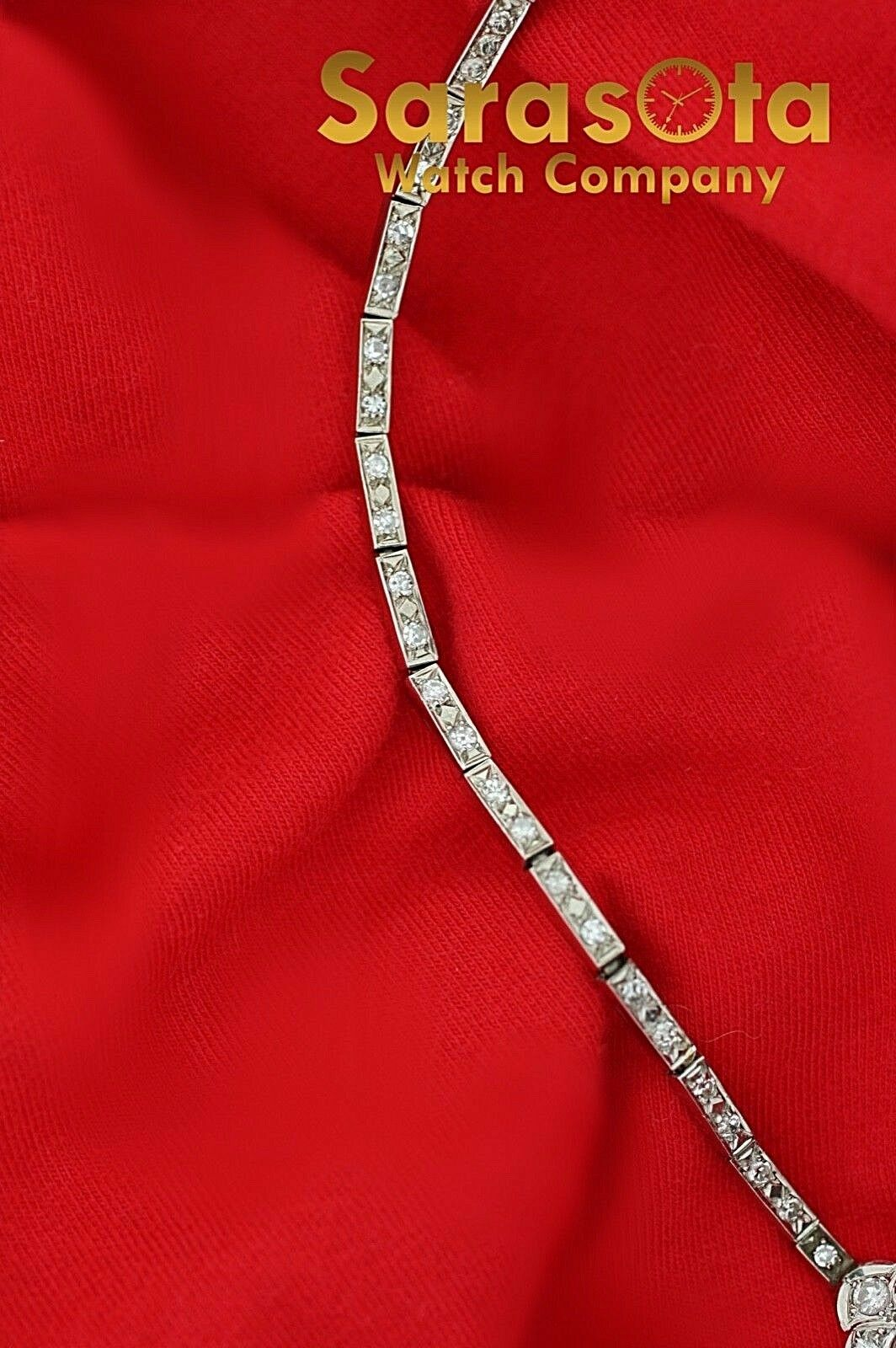 14k White Gold 35ct Marquise Round Diamonds 17 Link Choker Necklace 132907563540 8