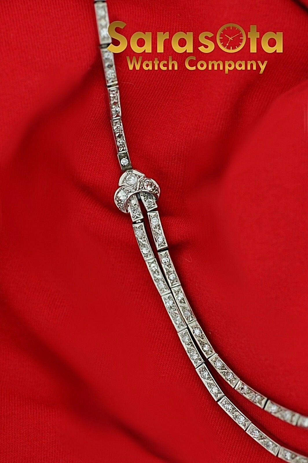 14k White Gold 35ct Marquise Round Diamonds 17 Link Choker Necklace 132907563540 9
