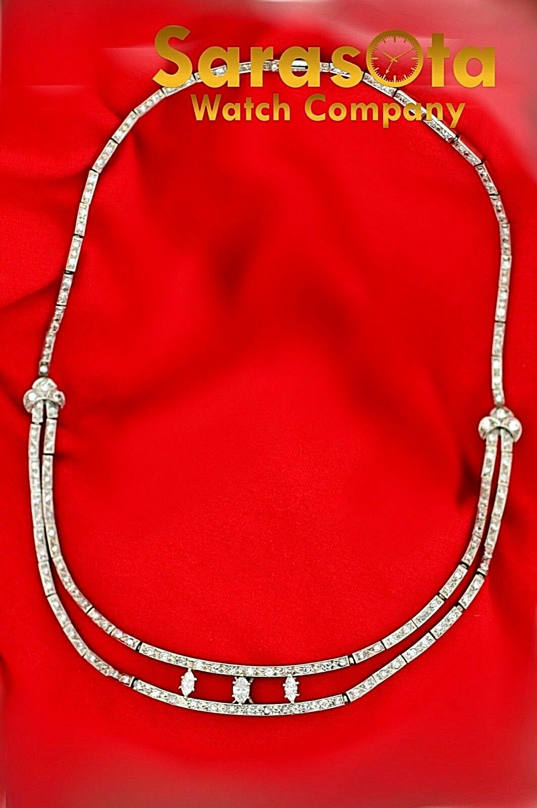 14k White Gold 35ct Marquise Round Diamonds 17 Link Choker Necklace 132907563540