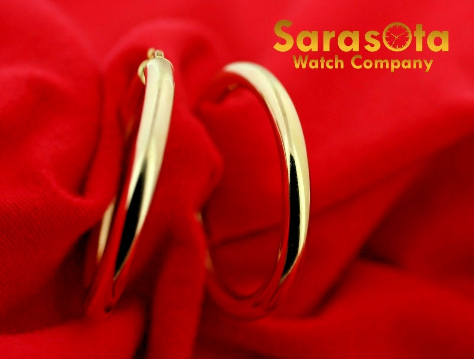 14k Yellow Color Gold 38mm Lever Back Hoops Womens Earrings Lightweight 132863800010 3