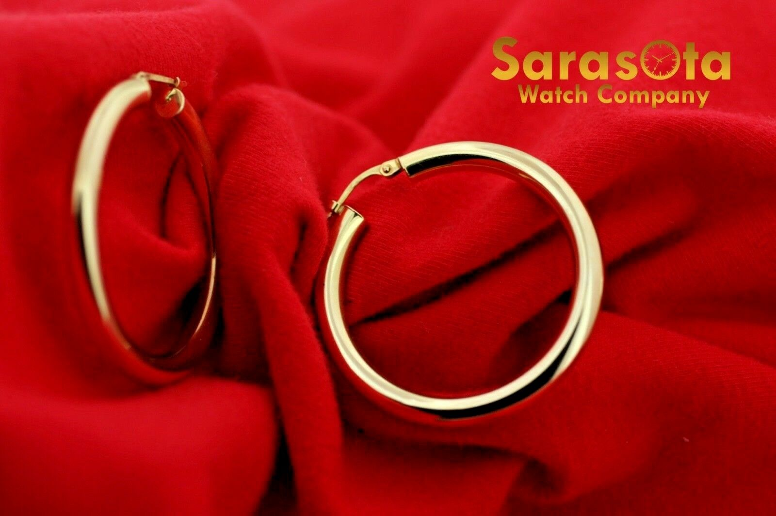 14k Yellow Color Gold 38mm Lever Back Hoops Womens Earrings Lightweight 132863800010 4