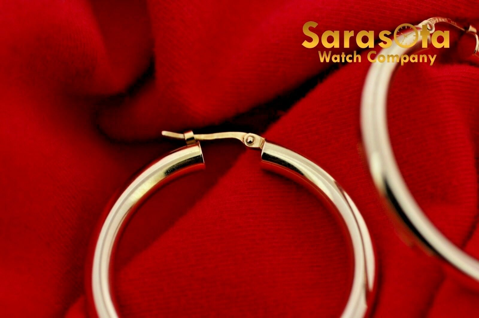 14k Yellow Color Gold 38mm Lever Back Hoops Womens Earrings Lightweight 132863800010 6