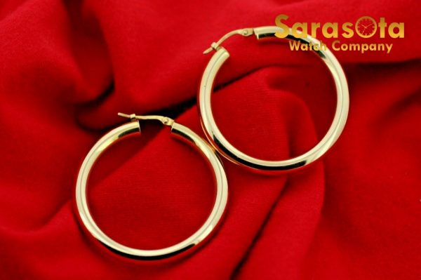 14k Yellow Color Gold 38mm Lever Back Hoops Womens Earrings Lightweight 132863800010