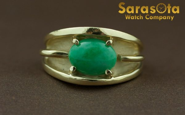 14k Yellow Gold Oval Jade Solitaire Womens Ring Size 625 131698551760 2