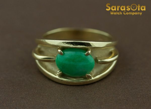 14k Yellow Gold Oval Jade Solitaire Womens Ring Size 625 131698551760 3