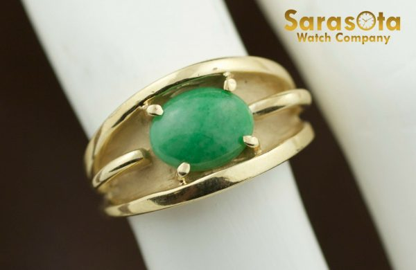 14k Yellow Gold Oval Jade Solitaire Womens Ring Size 625 131698551760 4
