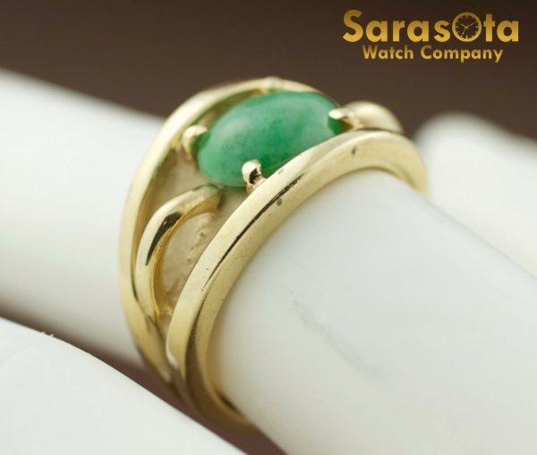 14k Yellow Gold Oval Jade Solitaire Womens Ring Size 625 131698551760 5