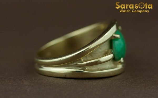 14k Yellow Gold Oval Jade Solitaire Womens Ring Size 625 131698551760 7