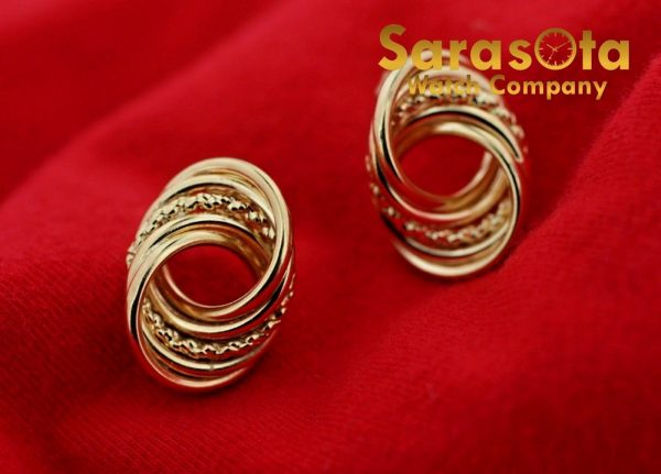 14k Yellow Gold Twisted Circle Studs Push Back Post Womens Earrings 113387766600 2