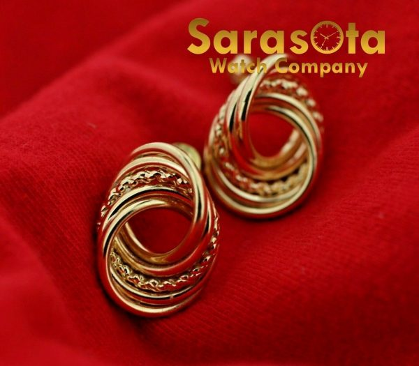14k Yellow Gold Twisted Circle Studs Push Back Post Womens Earrings 113387766600 5