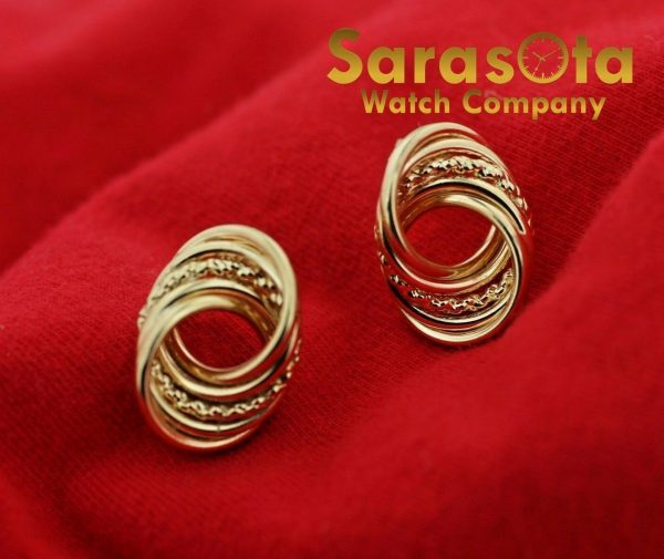 14k Yellow Gold Twisted Circle Studs Push Back Post Womens Earrings 113387766600