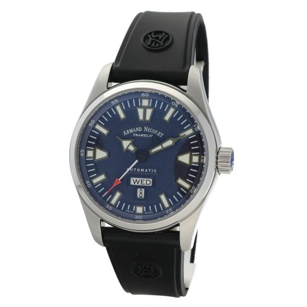 Armand Nicolet 9640M BU G9660 Stainless Steel 43mm Rubber Automatic Mens Watch 133804259650 4