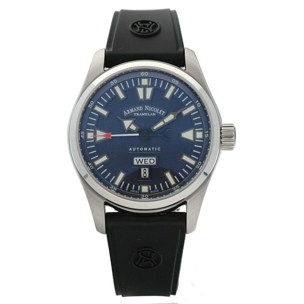 Armand Nicolet 9640M BU G9660 Stainless Steel 43mm Rubber Automatic Mens Watch 133804259650