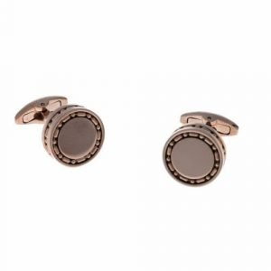 Aston Martin AM 034B Stainless Steel Rose Gold Polished Round Mens Cufflinks 124146072090
