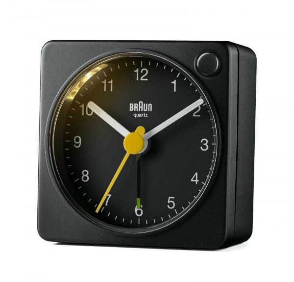 Braun BN BC2XB Black Square Quartz Alarm Classic Travel Clock 114584470200 2