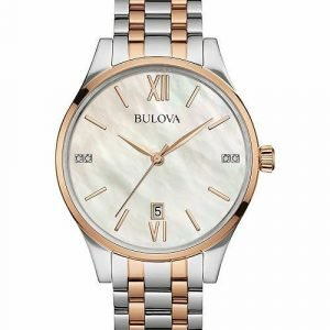 Bulova 98P150 Stainless Steel MOP Diamond Dial Two Tone Womens Watch 133366974140