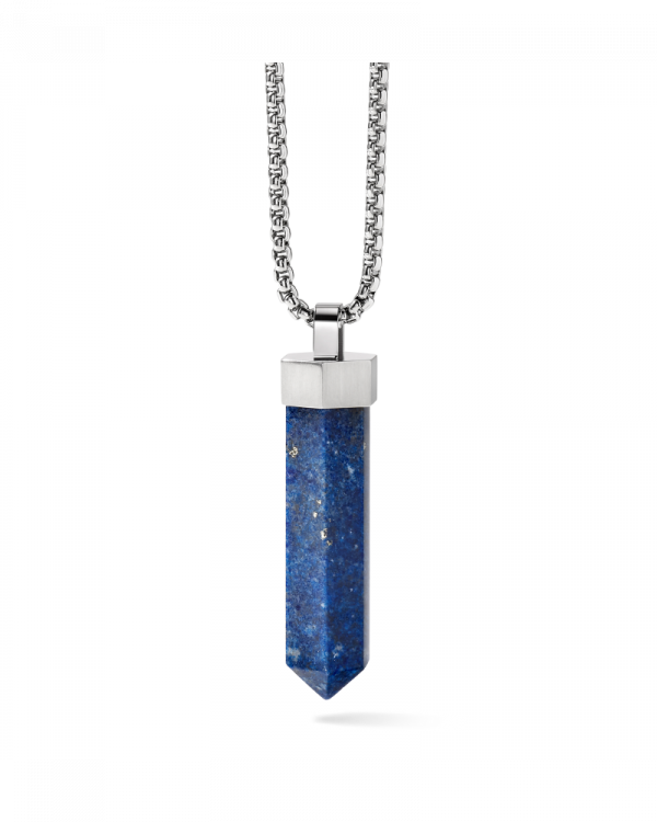 Bulova J96N006 Precisionist Stainless Steel Obelisk Shaped Lapis Necklace 28 133384348880
