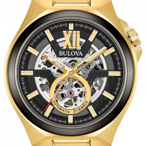 Bulova Maquina 98A178 46mm Gold Toned Skeleton Dial Automatic Mens Watch 114155222680