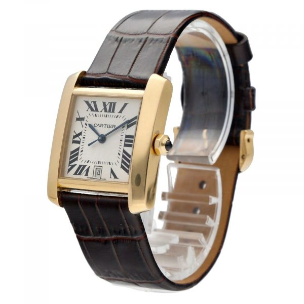 Cartier Tank Francaise 1840 18k Yellow Gold Leather Automatic Ladies Watch 124474688320 2