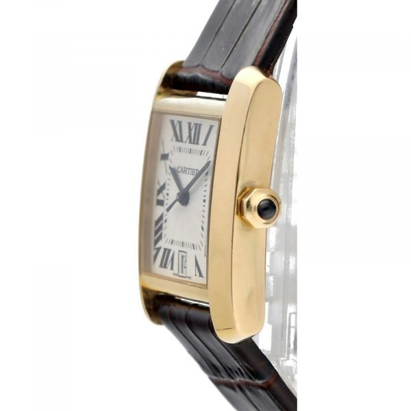 Cartier Tank Francaise 1840 18k Yellow Gold Leather Automatic Ladies Watch 124474688320 3