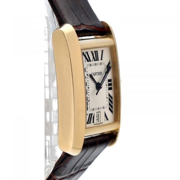 Cartier Tank Francaise 1840 18k Yellow Gold Leather Automatic Ladies Watch 124474688320 4