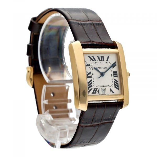 Cartier Tank Francaise 1840 18k Yellow Gold Leather Automatic Ladies Watch 124474688320 5