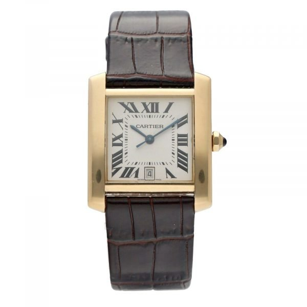 Cartier Tank Francaise 1840 18k Yellow Gold Leather Automatic Ladies Watch 124474688320