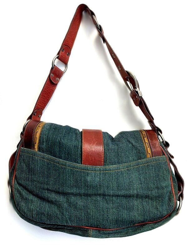 Christian Dior Gaucho Double Saddle Green Jeans Brown Red Leather Shoulder Bag 113778315430 2