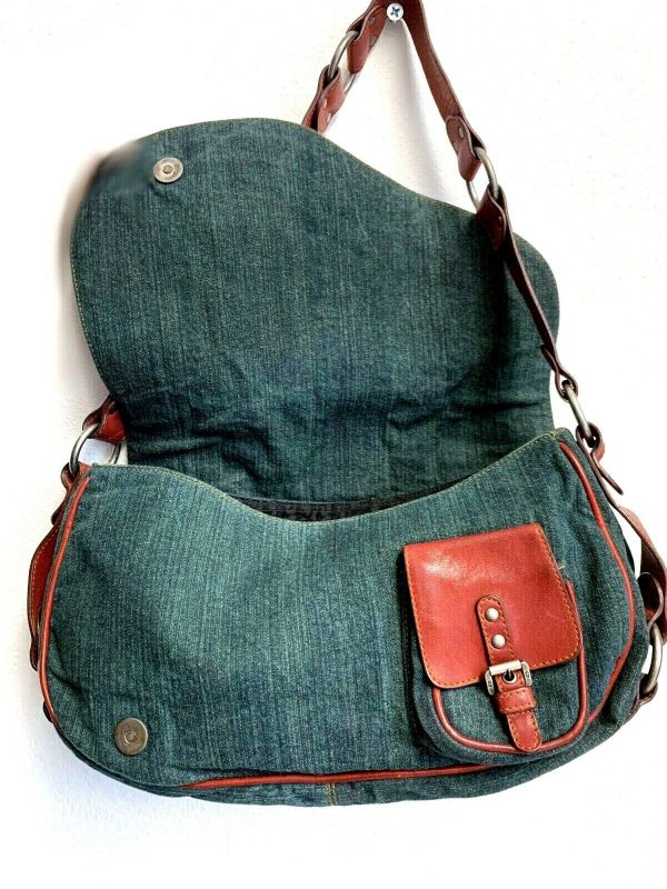 Christian Dior Gaucho Double Saddle Green Jeans Brown Red Leather Shoulder Bag 113778315430 3